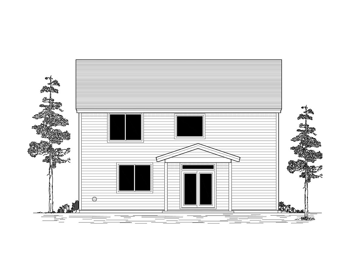 Craftsman, Traditional House Plan 44413 with 6 Beds, 3 Baths, 2 Car Garage Rear Elevation