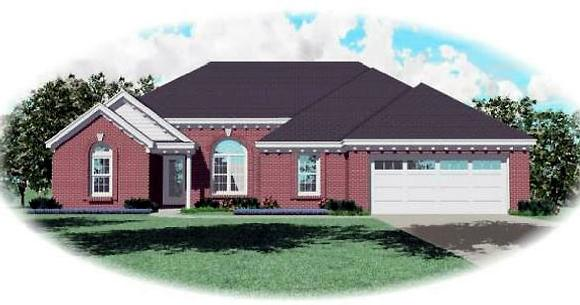 Ranch House Plan 44934 with 3 Beds, 2 Baths, 2 Car Garage Elevation