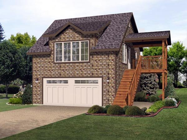 2 Car Garage Apartment Plan 45121 with 2 Beds, 1 Baths Elevation