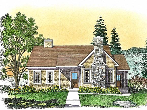 Bungalow, Cottage House Plan 45162 with 2 Beds, 2 Baths Elevation