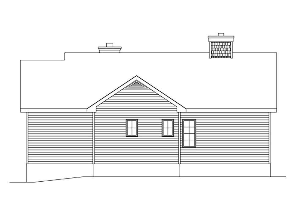 Bungalow, Cottage House Plan 45162 with 2 Beds, 2 Baths Rear Elevation