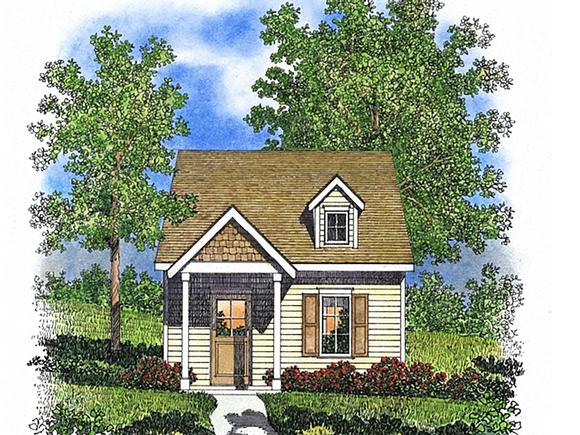 Cabin, Cottage, Narrow Lot, One-Story House Plan 45165 with 1 Beds, 1 Baths Elevation