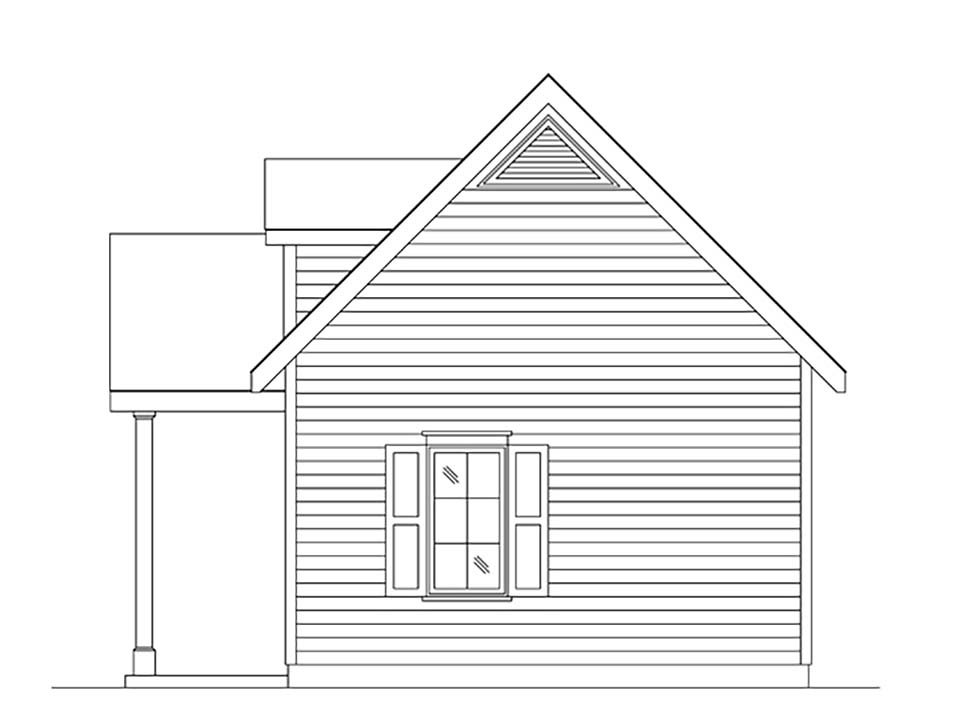 Cabin, Cottage, Narrow Lot, One-Story House Plan 45165 with 1 Beds, 1 Baths Picture 1