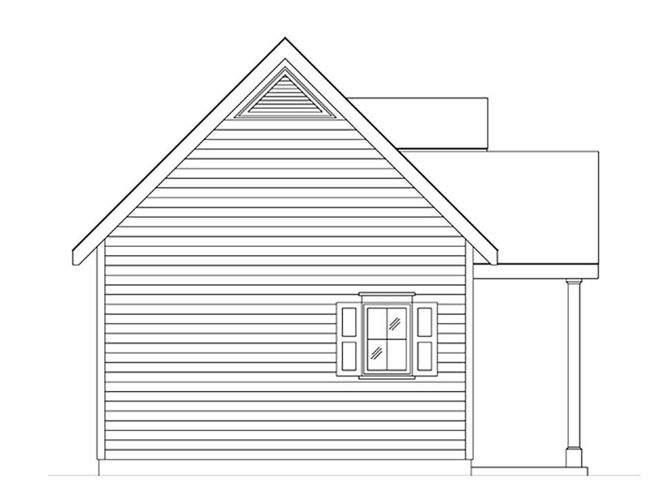 Cabin, Cottage, Narrow Lot, One-Story House Plan 45165 with 1 Beds, 1 Baths Picture 2