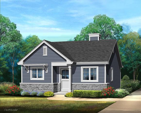 Bungalow, Cottage, Narrow Lot, One-Story House Plan 45185 with 1 Beds, 1 Baths Elevation