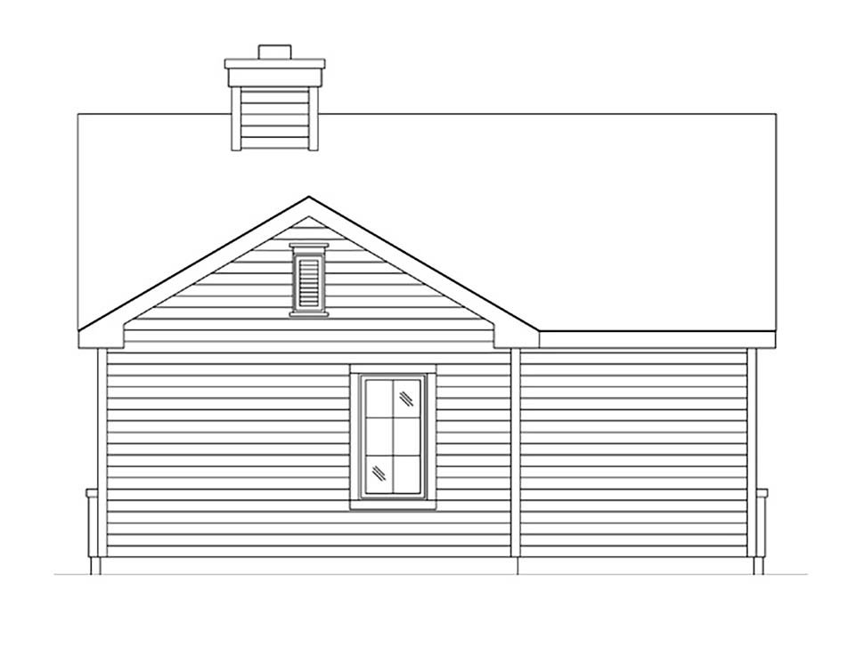 Bungalow, Cottage, Narrow Lot, One-Story House Plan 45185 with 1 Beds, 1 Baths Rear Elevation