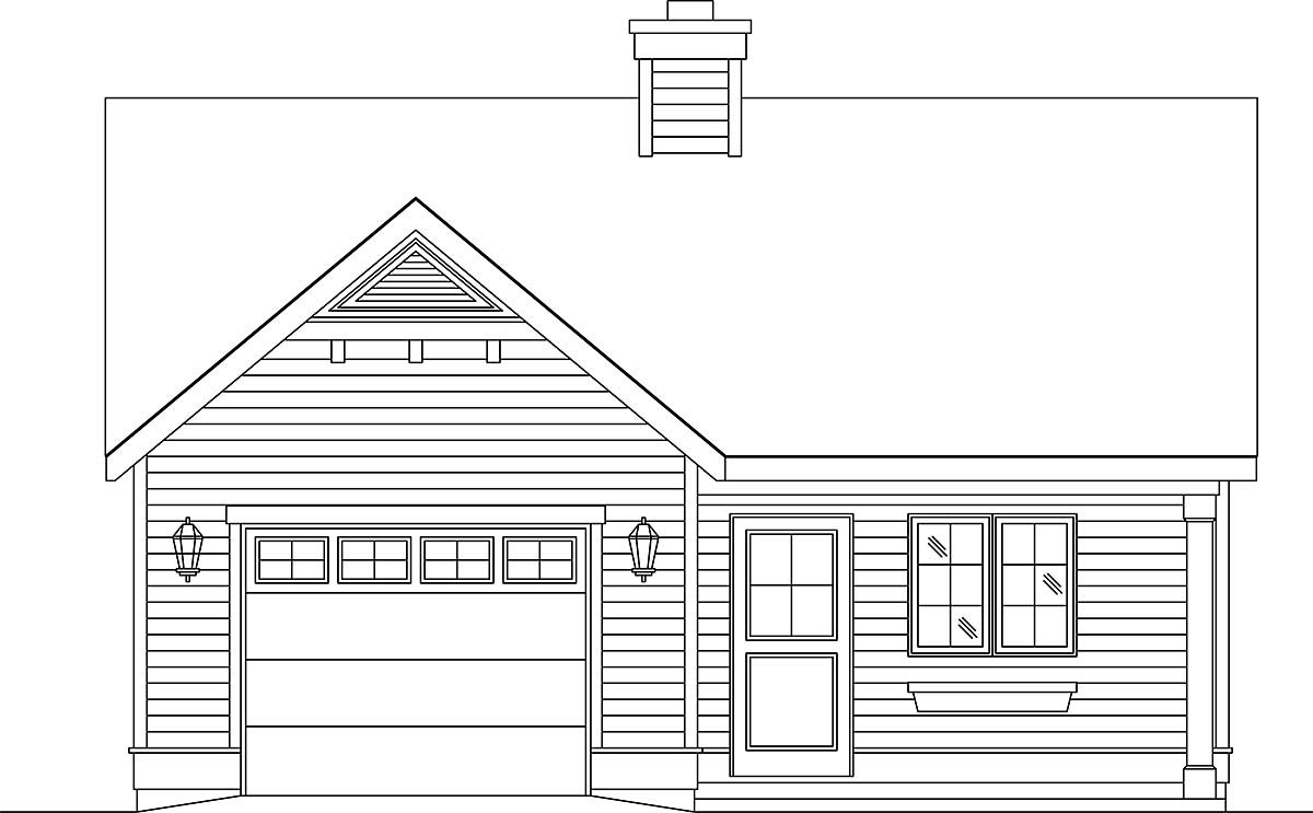 Narrow Lot, One-Story House Plan 45188 with 1 Beds, 1 Baths, 1 Car Garage Elevation