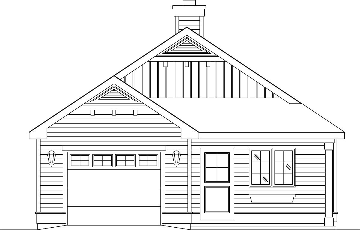 Narrow Lot, One-Story House Plan 45189 with 2 Beds, 1 Baths, 1 Car Garage Elevation