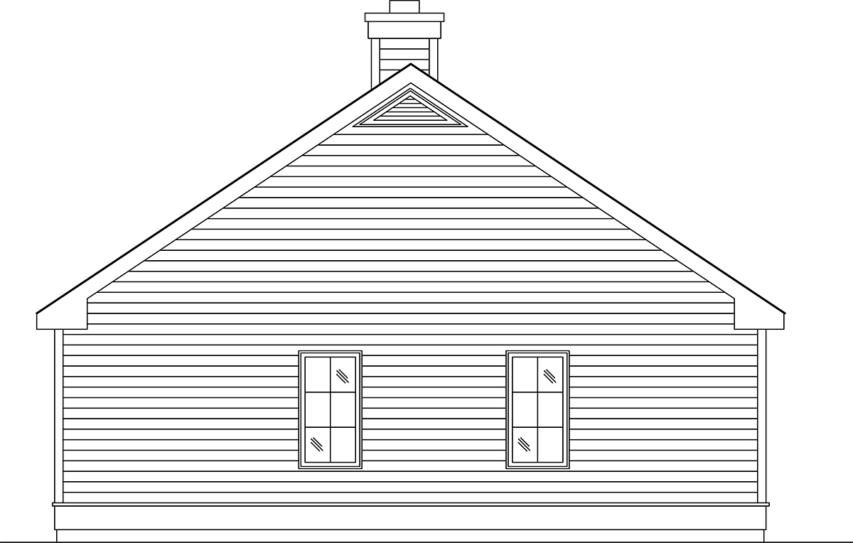 Narrow Lot, One-Story House Plan 45189 with 2 Beds, 1 Baths, 1 Car Garage Rear Elevation