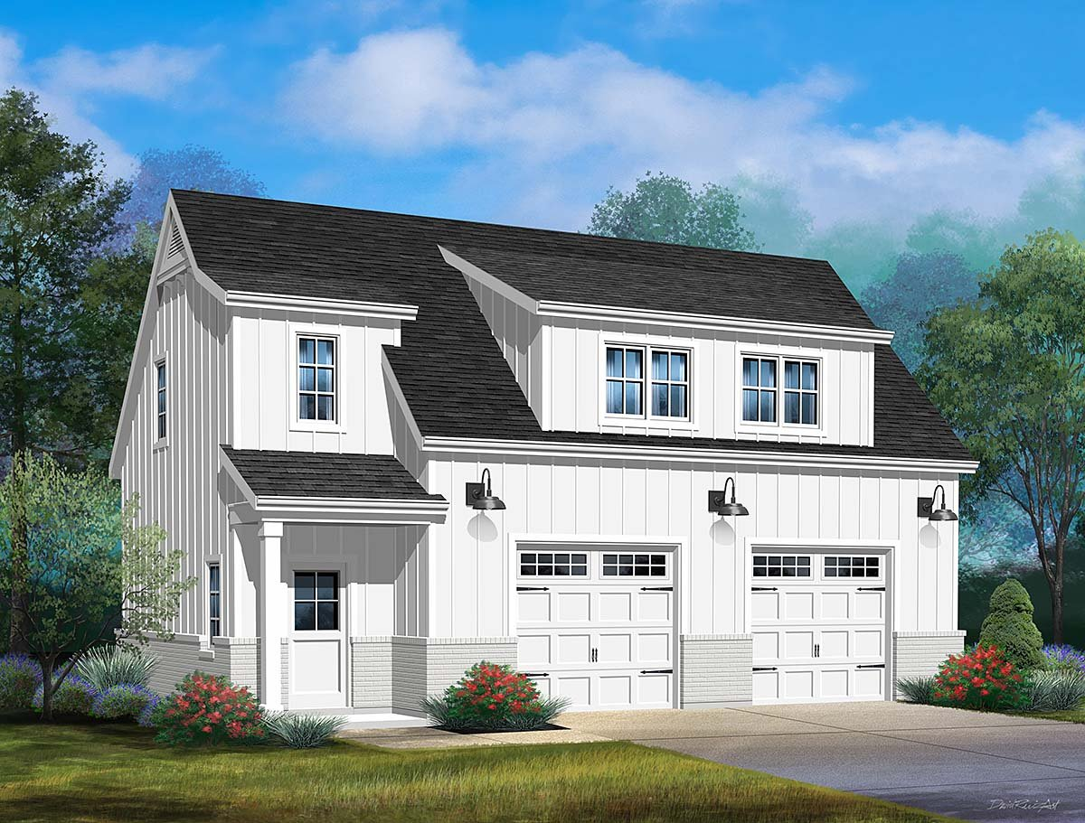 Country, Craftsman, Traditional 2 Car Garage Plan 45193 with 1 Beds, 1 Baths Elevation
