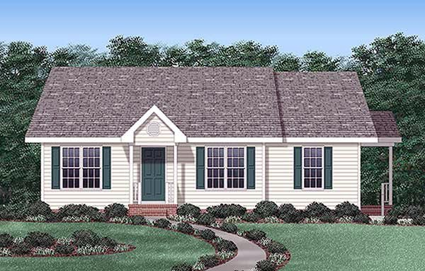 Ranch, Traditional House Plan 45258 with 3 Beds, 2 Baths Elevation