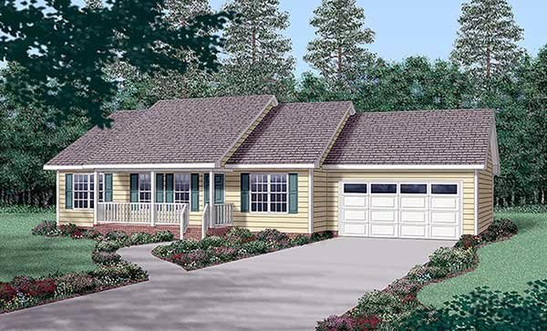 Ranch House Plan 45269 with 3 Beds, 2 Baths, 2 Car Garage Elevation