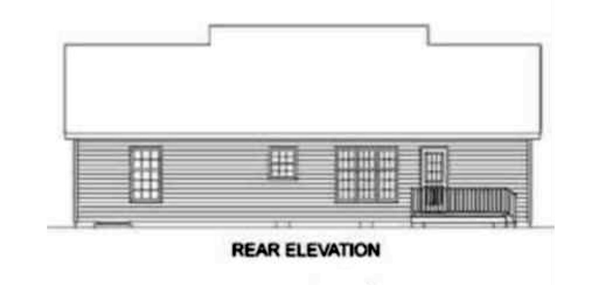 Ranch House Plan 45272 with 3 Beds, 3 Baths Rear Elevation