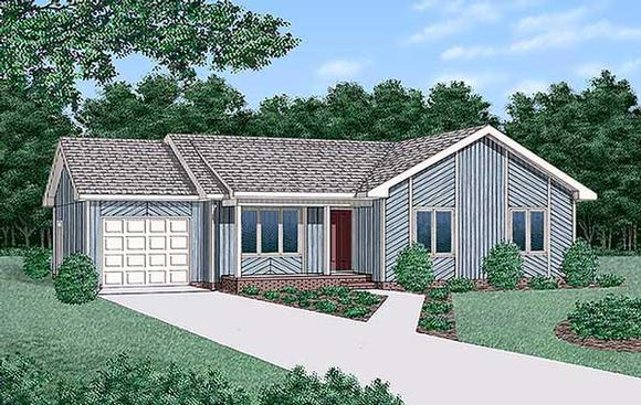 Contemporary, One-Story, Ranch House Plan 45307 with 3 Beds, 2 Baths, 1 Car Garage Elevation