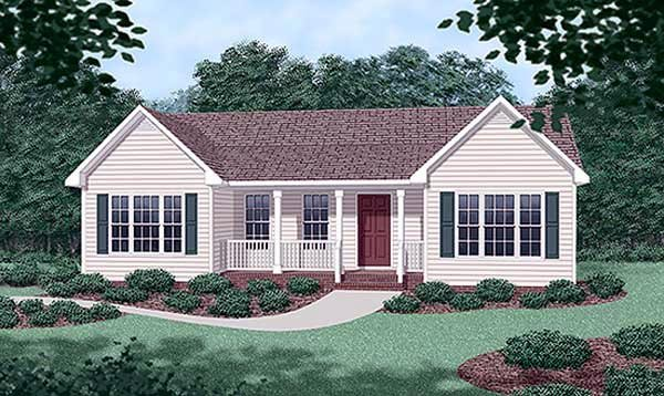 Ranch House Plan 45316 with 3 Beds, 2 Baths Elevation