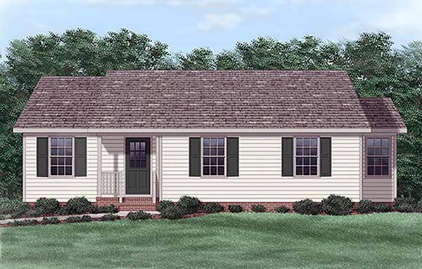 One-Story, Ranch House Plan 45322 with 3 Beds, 2 Baths Elevation