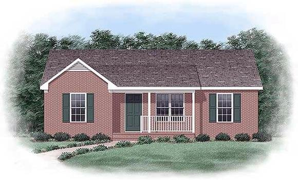 Narrow Lot, One-Story, Ranch House Plan 45329 with 3 Beds, 2 Baths Elevation