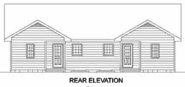 Traditional Multi-Family Plan 45347 with 4 Beds, 4 Baths Rear Elevation