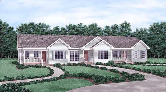 One-Story Multi-Family Plan 45357 with 3 Beds, 3 Baths Elevation