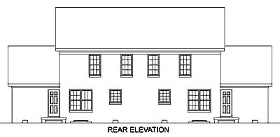 Colonial Multi-Family Plan 45369 with 4 Beds, 6 Baths, 2 Car Garage Rear Elevation