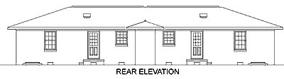 One-Story, Ranch Multi-Family Plan 45418 with 4 Beds, 2 Baths Rear Elevation