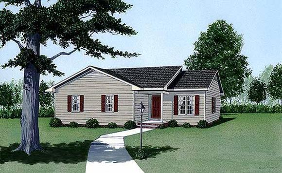 Narrow Lot, One-Story, Traditional House Plan 45495 with 3 Beds, 2 Baths Elevation