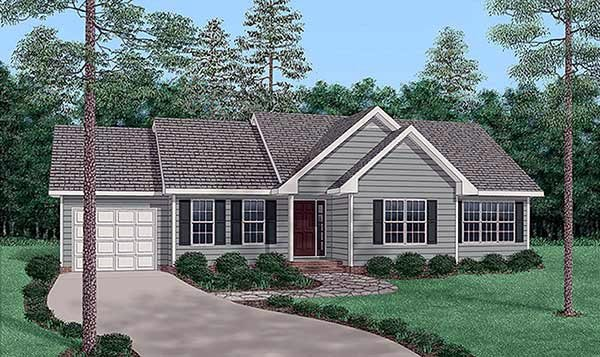 One-Story, Traditional House Plan 45502 with 3 Beds, 2 Baths, 1 Car Garage Elevation
