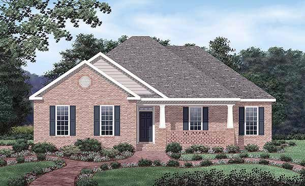 European, One-Story House Plan 45505 with 3 Beds, 2 Baths, 2 Car Garage Elevation