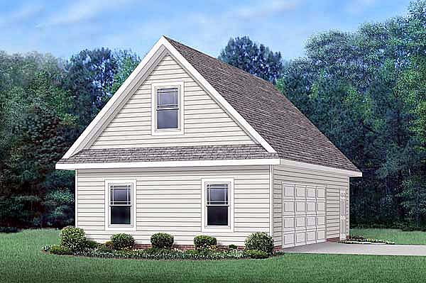 Traditional 2 Car Garage Apartment Plan 45512 with 1 Beds, 1 Baths Elevation