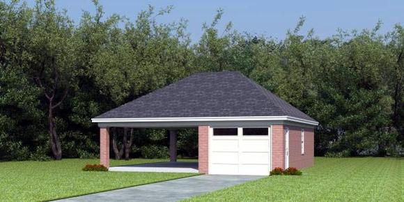 2 Car Garage Plan 45792 Elevation