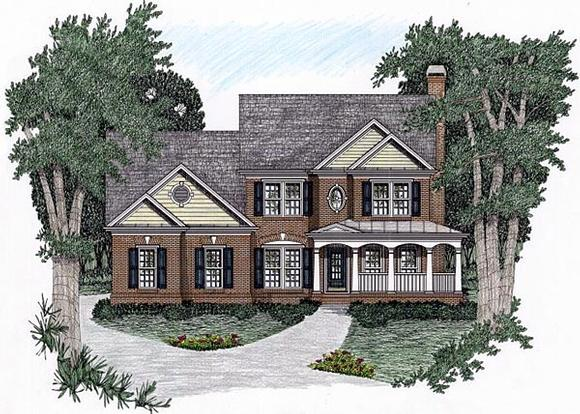 Traditional House Plan 45825 with 5 Beds, 4 Baths, 2 Car Garage Elevation