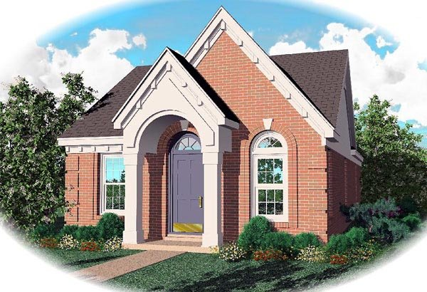 Narrow Lot, One-Story, Ranch House Plan 46353 with 3 Beds, 2 Baths Elevation