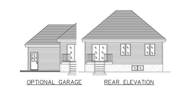 Bungalow, Narrow Lot, One-Story House Plan 48026 with 4 Beds, 1 Baths, 1 Car Garage Rear Elevation