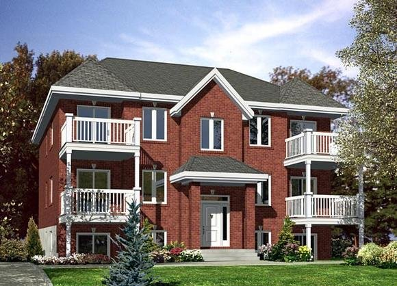 Multi-Family Plan 48066 with 12 Beds, 6 Baths Elevation