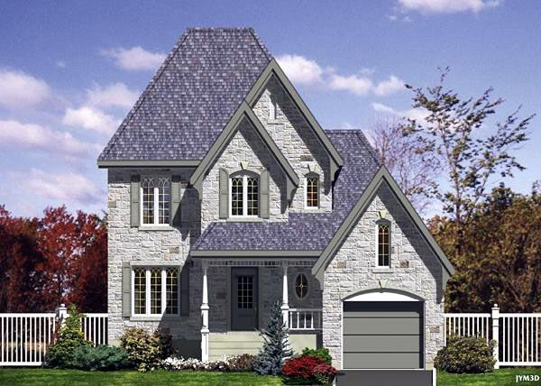 Narrow Lot, Victorian House Plan 48124 with 3 Beds, 2 Baths, 1 Car Garage Elevation