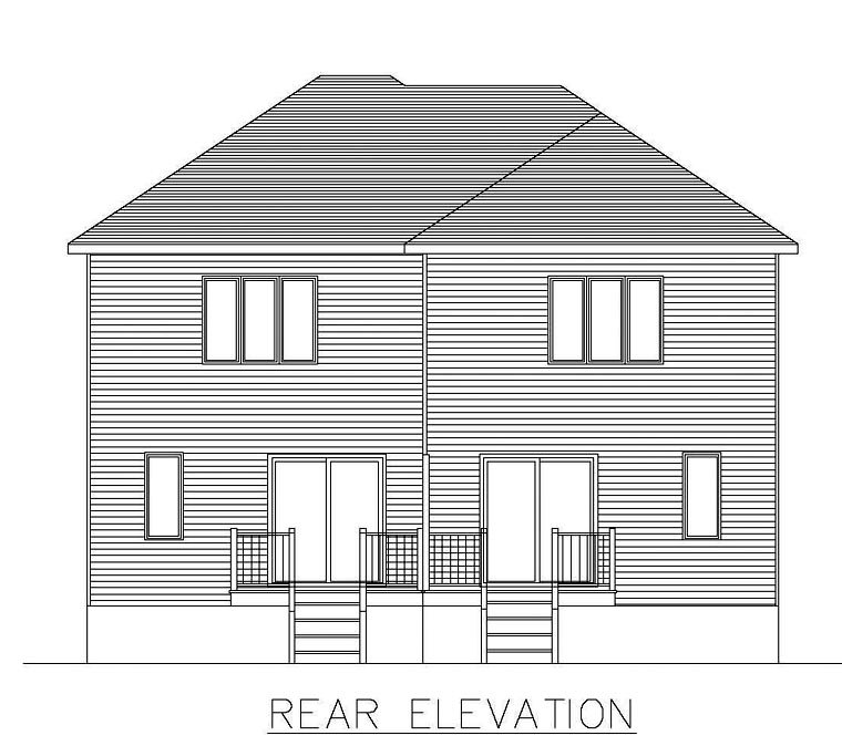 Multi-Family Plan 48297 with 6 Beds, 4 Baths Rear Elevation