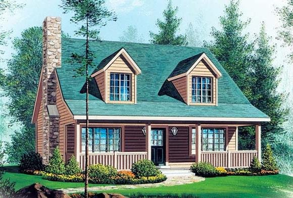 Cabin, Cape Cod, Country House Plan 49128 with 2 Beds, 3 Baths Elevation