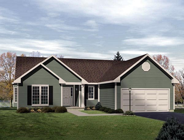 One-Story, Ranch House Plan 49134 with 3 Beds, 2 Baths, 2 Car Garage Elevation