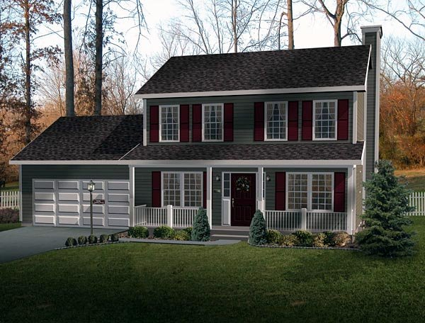Country House Plan 49144 with 3 Beds, 3 Baths, 2 Car Garage Elevation