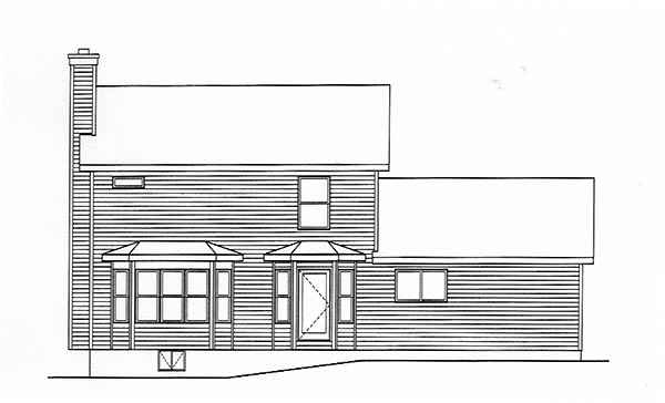 Country House Plan 49144 with 3 Beds, 3 Baths, 2 Car Garage Rear Elevation