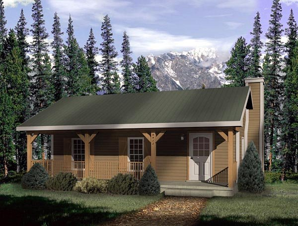Country, Narrow Lot, One-Story House Plan 49148 with 1 Beds, 1 Baths Elevation