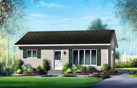 Narrow Lot, One-Story, Ranch House Plan 49495 with 2 Beds, 1 Baths Elevation