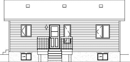 Narrow Lot, One-Story, Ranch House Plan 49495 with 2 Beds, 1 Baths Rear Elevation
