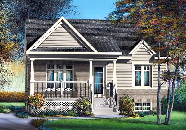 Craftsman House Plan 49504 with 2 Beds, 1 Baths Elevation