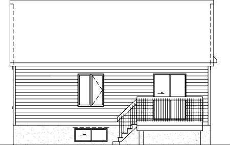 Craftsman House Plan 49504 with 2 Beds, 1 Baths Rear Elevation