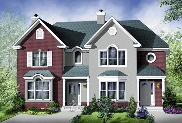 Multi-Family Plan 49806 with 5 Beds, 4 Baths Elevation