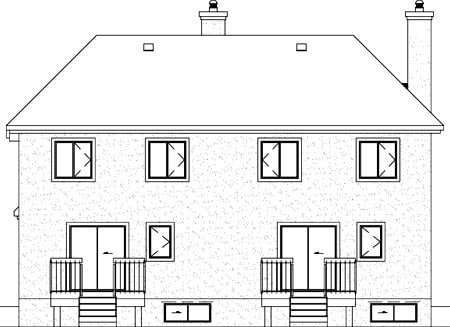 Multi-Family Plan 49806 with 5 Beds, 4 Baths Rear Elevation