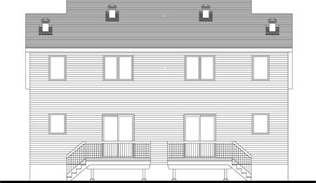 Narrow Lot Multi-Family Plan 49846 with 6 Beds, 4 Baths Rear Elevation