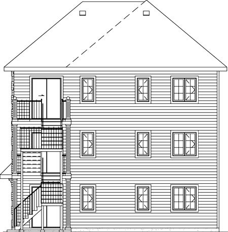 Colonial, Traditional Multi-Family Plan 49851 with 9 Beds, 3 Baths Rear Elevation