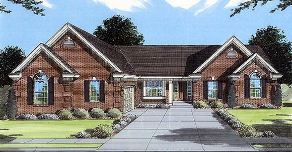 One-Story, Traditional House Plan 50075 with 3 Beds, 2 Baths, 2 Car Garage Elevation